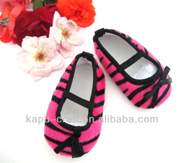 wholesale Hot pink zebra-stripe baby girls shoes