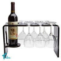 China Supplier Wedding Decoration Wine Bottle Display Stand Black Customized Wine Glass Holder Countertop Acrylic Wine Rack