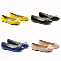 mk073-1 blue patent leather outsole fashion shoe with bowknot dress shoe