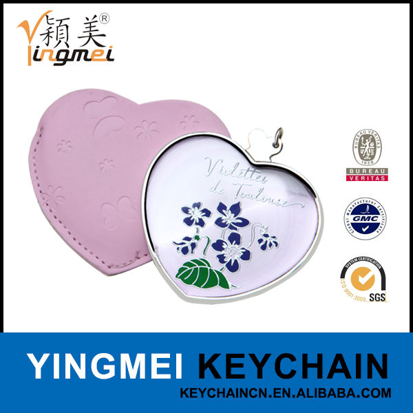 H08040-3 Wholesale novelty ladies heart shaped compact mirror