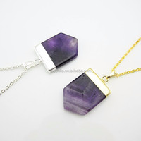 NC150120002 Gold Or Silver Dipped Amethyst Agate Slice Pentagon Pendant Necklace