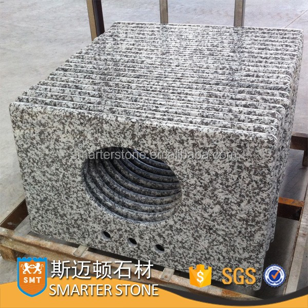 G439 white granite table top with a hole