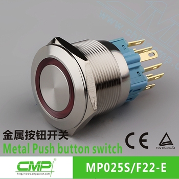 CMP 25mm stainless steel 2NO2NC illuminated switch led push button