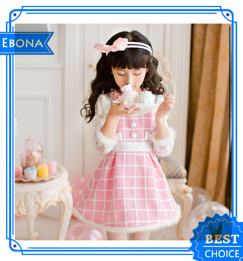 Newest design 2016 Long Sleeve Pink Princess Costume Kids frock Design Pictures Girl Dress