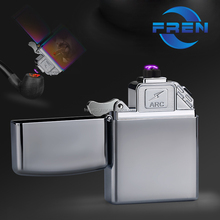 Mini hand power 220 dual arc lighter plasma usb rechargable lighters windproof for cigar