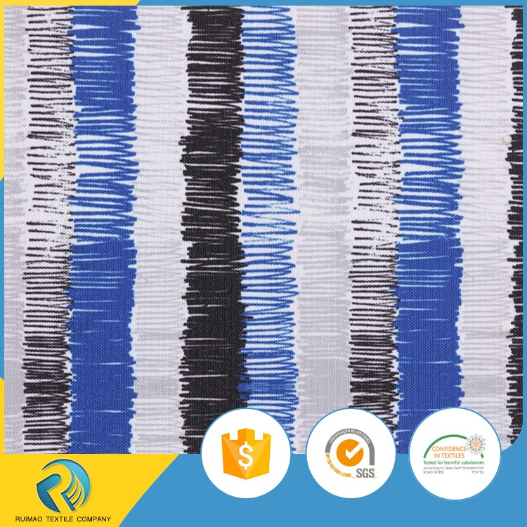 Waterproof PU coated color stripe printed polyester cloth material fabric for bags