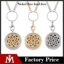 Flower of Life Stainless Steel Aromatherapy Essential Oil Diffuser Necklace Pendant Locket Jewelry Gift Set