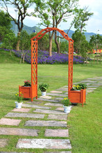 wooden garden arch with planters ALS-7136
