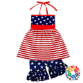 2017 New Patterns Girls Summer Boutique Outfits Navy Red And White Color Dress And Ruffle Shorts 4th Of July Outfit For Girl