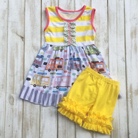 2017 latest design summer tank top camper pattern arrow boutique ruffle shorts outfits