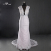RQ120 High Quality Beautiful And Elegant Low Back Beaded Waist Floor Length Pink Mermaid Wedding Dress