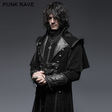 Y-636 Gothic cool leather belts crimp shoulder zip-lined men long coat
