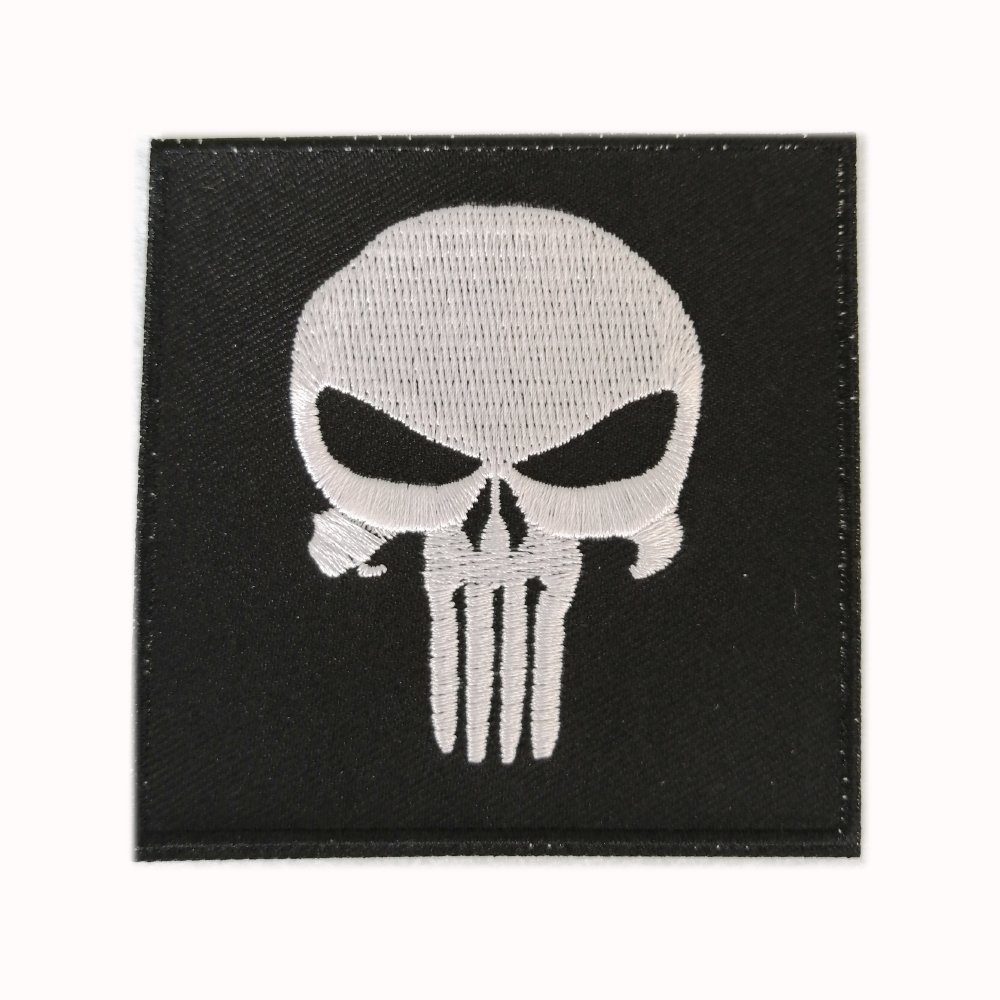 High Quality Stock Skull Logo <strong>Iron</strong> On Backing Patches Embroidery