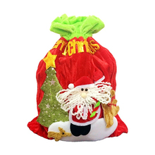 2018 New Design Pleuche Fabric Christmas Drawstring Gift Candy Bag