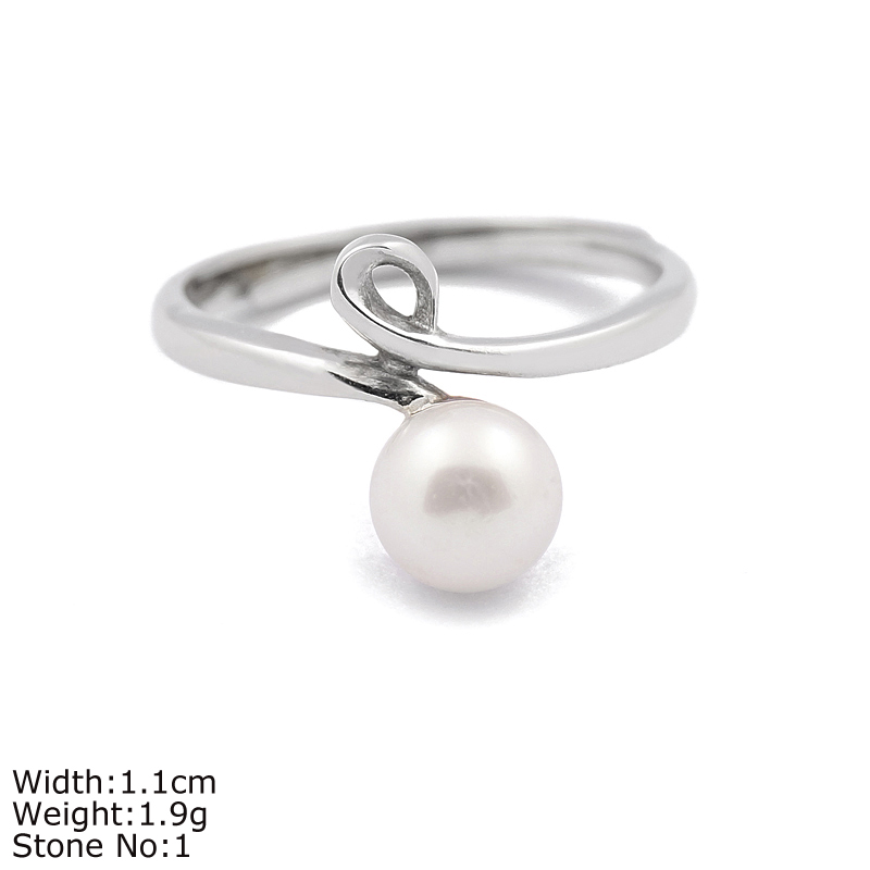 RZA0-303 one stone jewelry classic silver light ring with round pearl