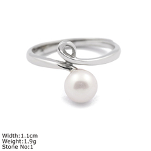RZA0-303 silver light ring with round pearl
