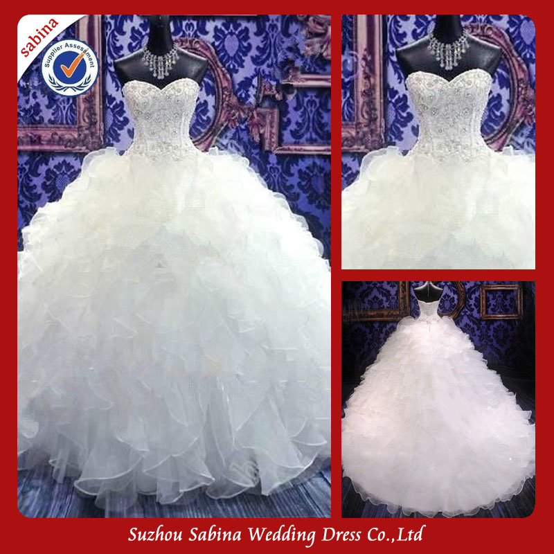 Sh0512 Ball Gown Wedding Dress With Sweetheart Neckline Very Long Tail Wedding Dress