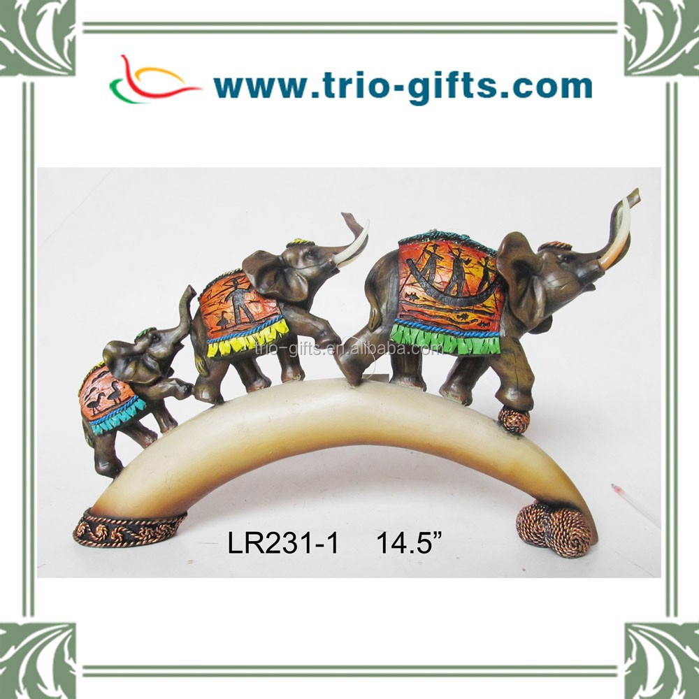 Resin indian elephant figurine for home decoration