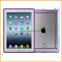 simple bumper tpu+pc Crystal color frame case for ipad 2/3/4