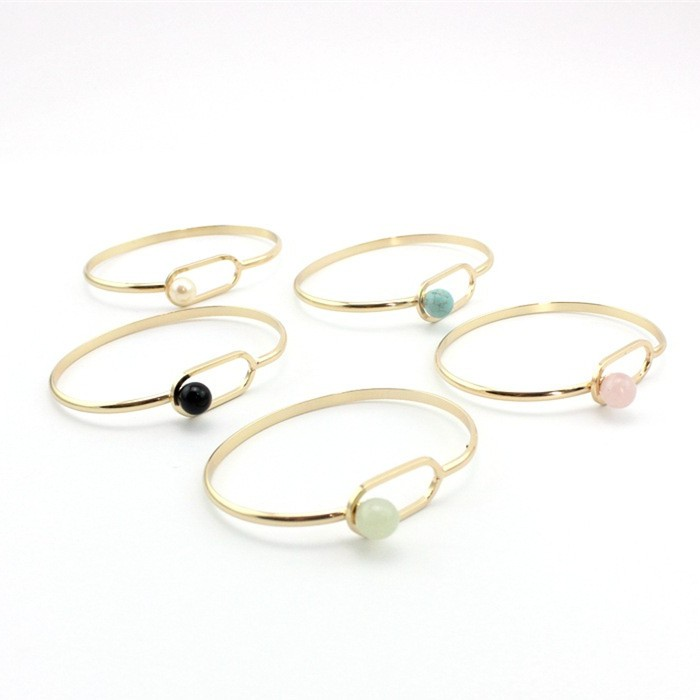 Semi-precious Natural Turquoise Beads Gold Tone Cuff Bracelet for Women