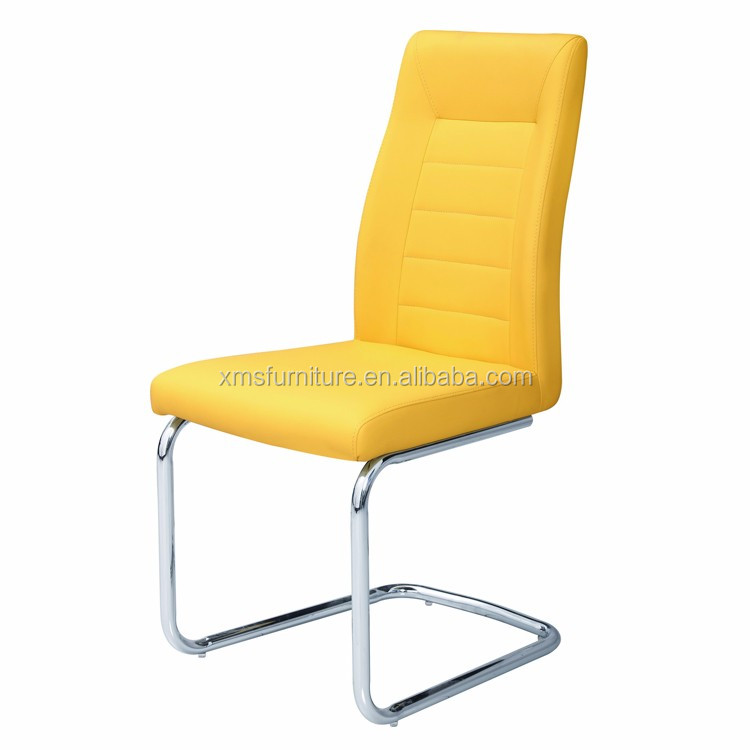 Home Furniture Stitching Backrest Dining Chair Seat Covers Yellow Pu Chairs