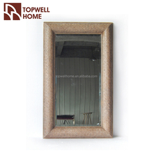 Hotel Decorate Rectangle Natural Wooden Frame Wall Mirror
