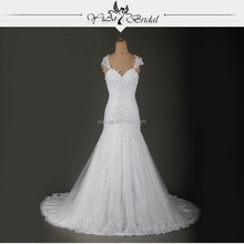 RSW726 Cap Sleeve Vestido De Noiva Lace Wedding Dresses With Keyhole Back 2015