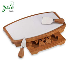 Bamboo Cheese Board with Marble Top and Drawer Knife Tools Set