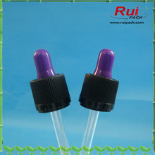 Glass dropper cap with colored nipple for cosmetic essential oil
