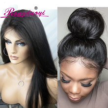 NEW High Ponytail Virgin Brazilian Silky Straight Full Lace Wig Glueless Long Straight Full Lace Human Hair Wigs For Black Women