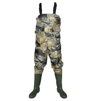 Camo or Solid 70D Nylon with PVC coating breathable chest fishing waders with adjustable chest belt