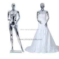 Abstract egg head silver female mannequin