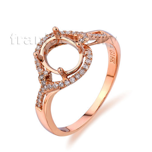 Natural 750 rose ring gold diamond Oval 6x8mm semi mount for wedding