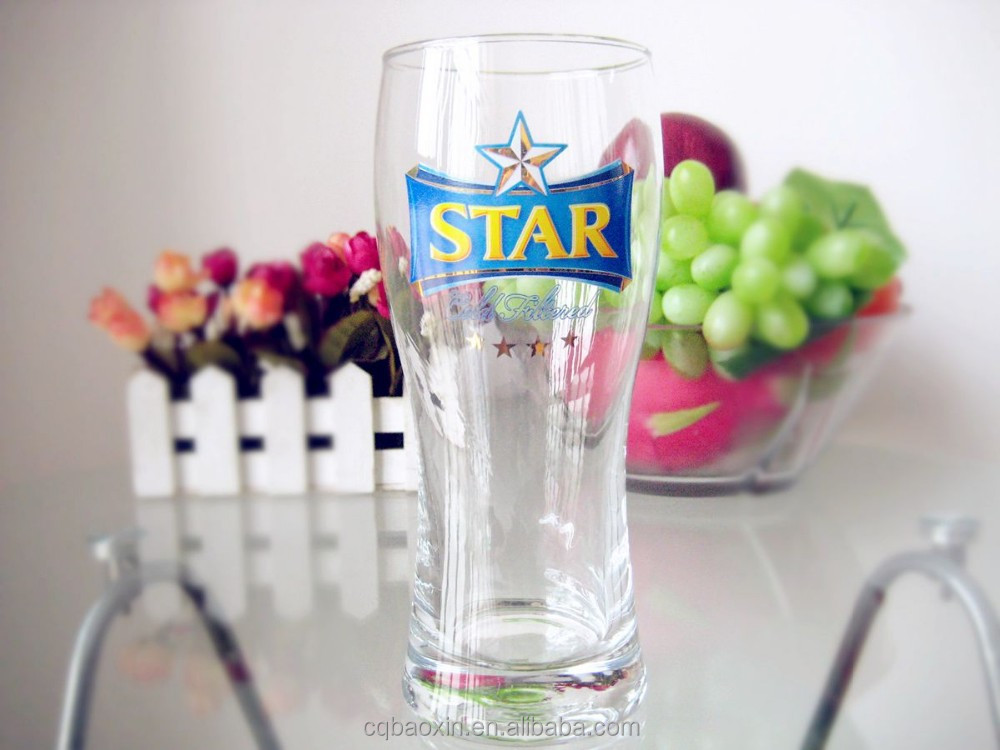 Transparent tall and wide mouth large capacity beer glass 485ml/16.7oz((glass factory had passed FDA/EU/SGS)