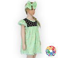 Kids Baby Girls Frock Designs Puffy Shoulder Cotton Dresses With Balls Baby Fancy Frocks