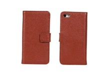 Genuine Leather Wallet for iPhon 5c Mobile Phone Case