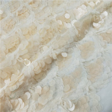 New arrival chiffon embroidered beaded lace fabric with big sequins decoration for dress