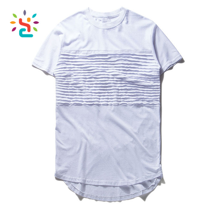 Distressed washed white tshirt curved hem for men summer swag ruffled ribbed long tail round bottom t shirt