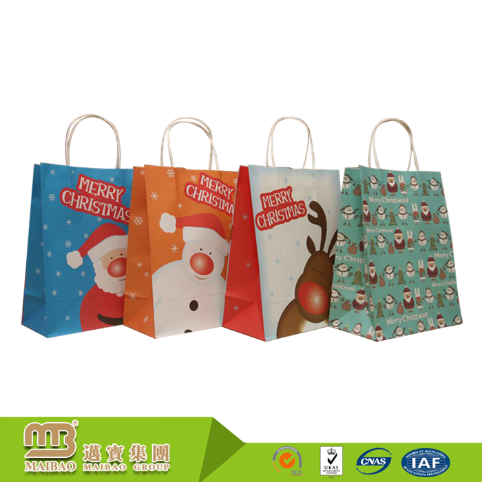 Fancy Kraft Paper Twisted Handle Custom Santa Clause Printing Christmas Holiday Shopping Packaging Xmas Gift Paper Bag