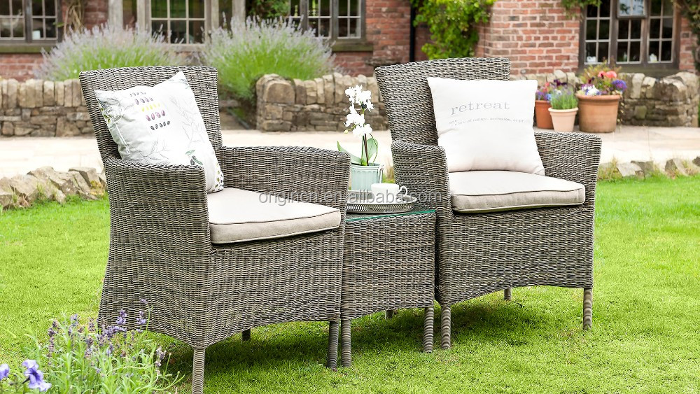 Aluminium frame rattan woven outdoor leisure bar sofa chair furniture set wicker coffee table and garden seat