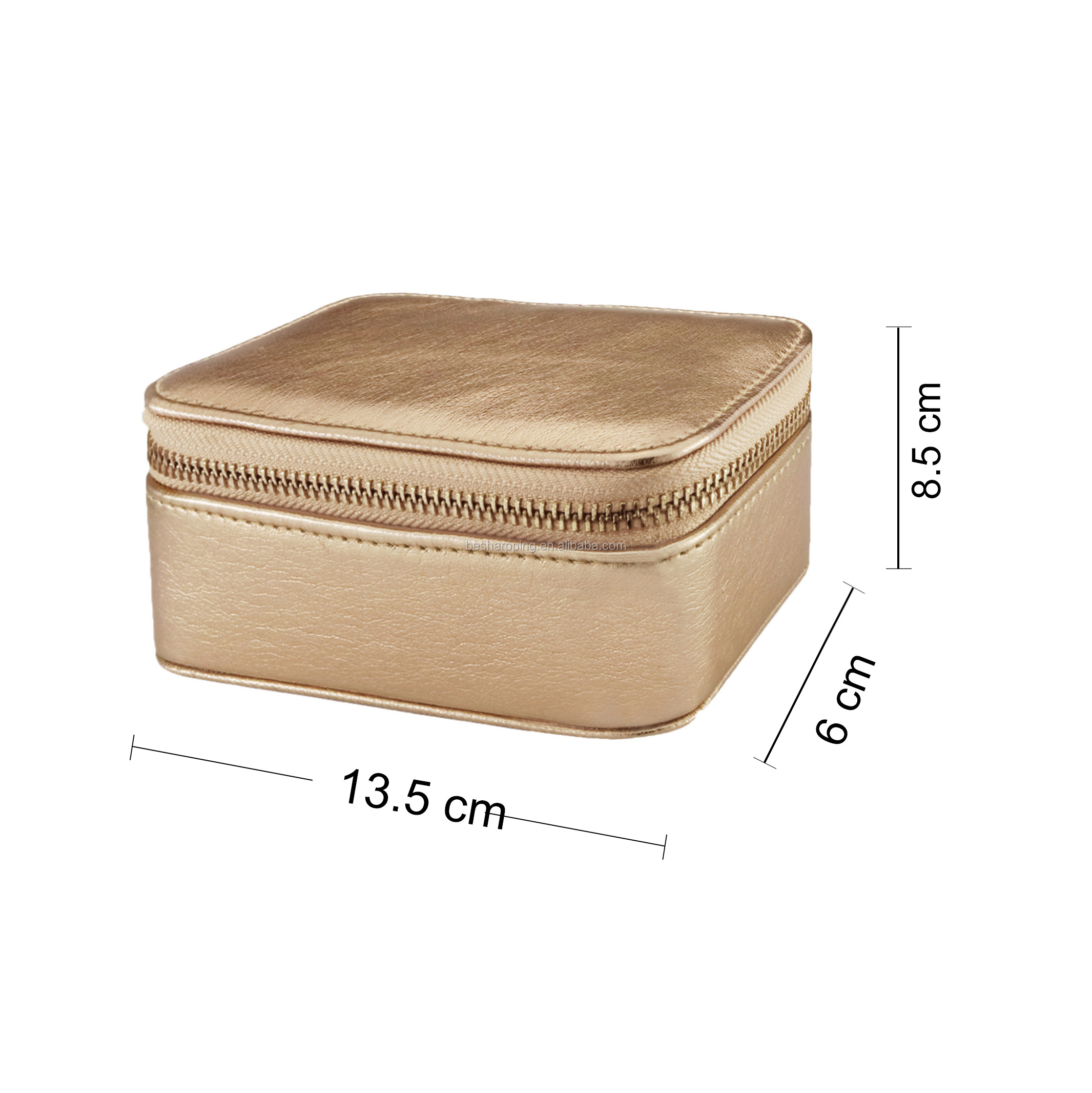 Luxury Mirror Jewelry Storage Travel Ring Case Leather Jewelry Box Organizer