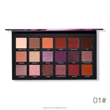 custom printed eyeshadow palette for girls, best selling makeup waterproof palette eyeshadow with 18 colors,