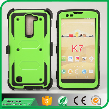 Green Color Full Body Premium Protector cover with Swivel Belt Clip and Screen Protector Hybrid Case for LG K7 Accessory