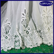 [GLORY]latest design handcut water soluble lace embroidery 100 cotton guipure swiss voile water chemical lace fabric