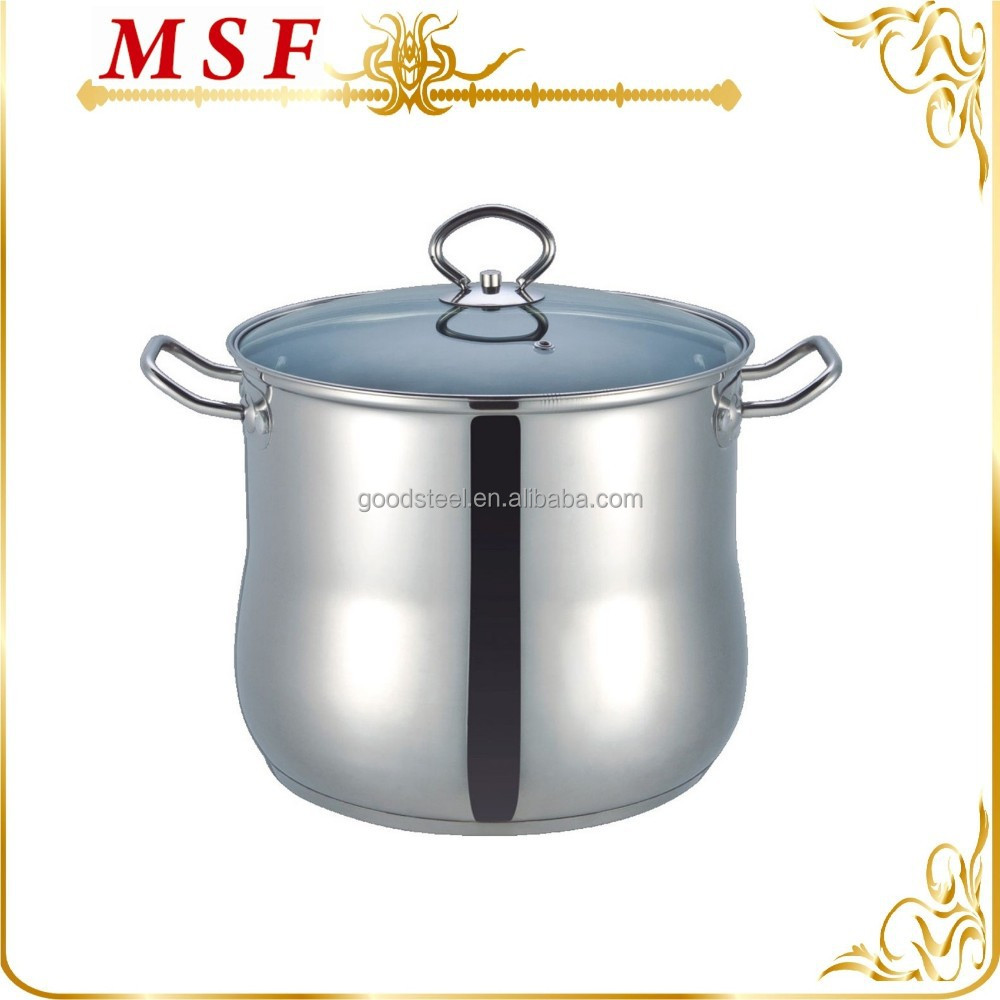 belly shape with glass lid high stainless steel stock pot
