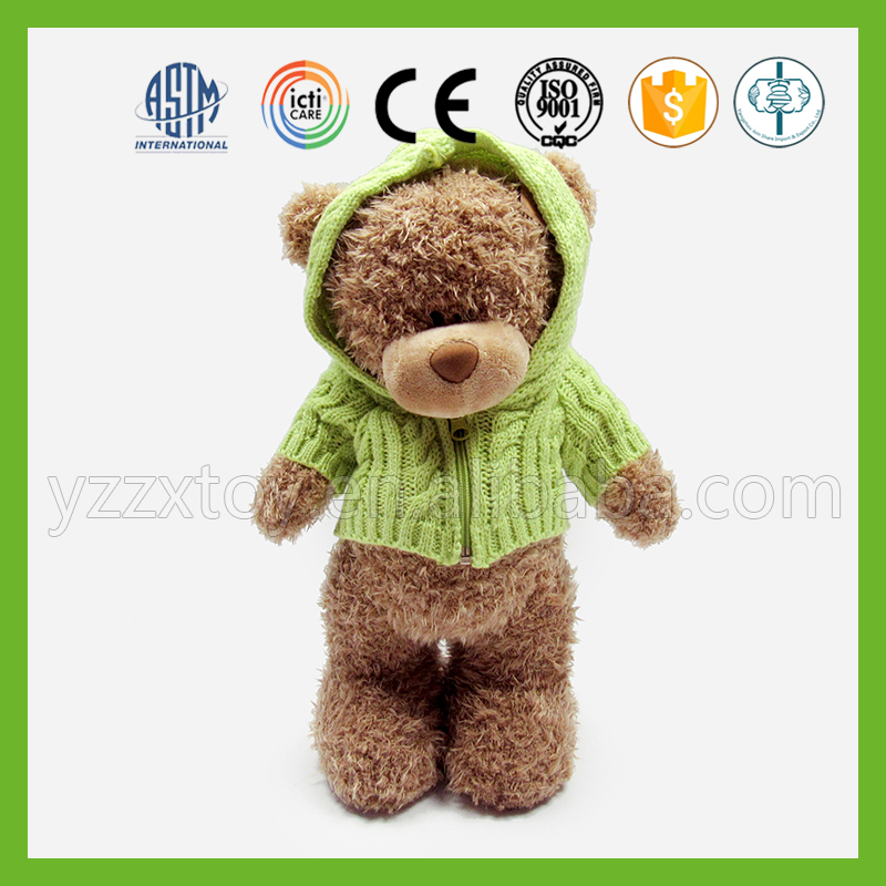 China export brown personalized standing teddy bear wearing green coat