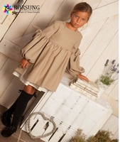 Latest Children Frocks Designs 2 Pieces Fashion Girls Long Puff Sleeve Linen Cotton Dresses Elegant Kids Clothes