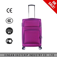 High quality polyester luggage, aluminum trolley luggage sets, 3pcs travel trolley suitcase