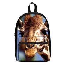 Custom giraffe printed unisex college rucksack 3d backpack with free shipping