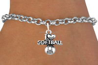 hot new products for 2015 best sale silver I LOVE SOFTBALL charm rolo chain bracelet